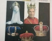 Jewel Crown King queen fur crown Reenactment costumes 2007 sewing pattern, Butterick 5161 Caroljoyfashions