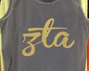 Flo Blue Zeta Tau Alpha and Silver Glitter Shirt