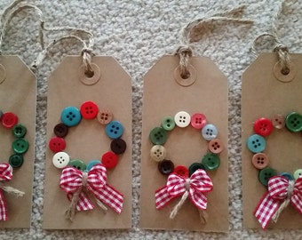 Handmade Button Wreath Christmas Tags