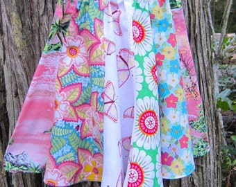 Girl's Pink and Green Cotton Spring and Summer Twirly Skirt in Size  8