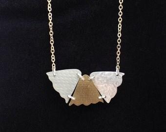 Tulip drops hand cut mixed metal textured necklace