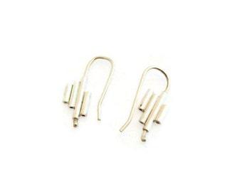 Geometric sterling silver spinning earrings