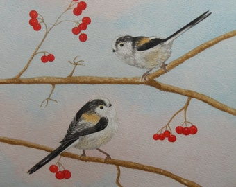 Bird Painting, Bird Watercolour, Long-tailed Tit, original watercolour, wildlife painting, large signed art