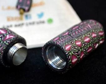 Cute Pill case keyring. Interior of aluminum and thread closure