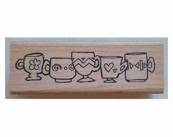 Deco Coffee Cups Rubber Stamp - 148M05