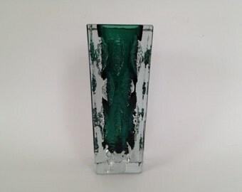 Ingrid Glasshütte ( signature IG 3078 ) Designer: Kurt Wokan crystal / glass 1970s Vintage glass vase  West Germany.