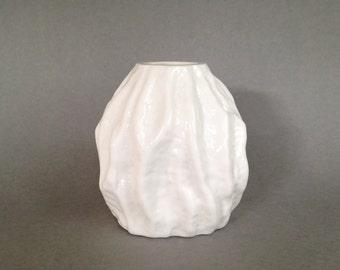Ingrid Glasshütte Vintage White Milk Glass with Bark Relief 1970s  West Germany