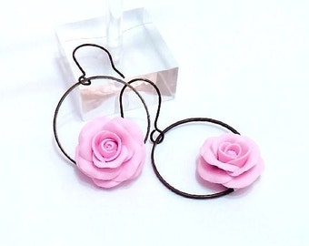 Pink roses dangle earrings - floral long drop earrings, Pink roses, Wedding Earrings,  roses Bridesmaid Earrings