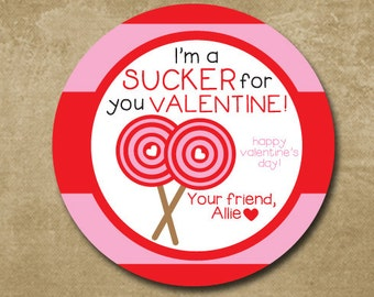 Sucker for you Valentine, Personalized Valentine Day Stickers, Treat Bag Tags, Lollipop Stickers, Kids Classroom Valentine Cards