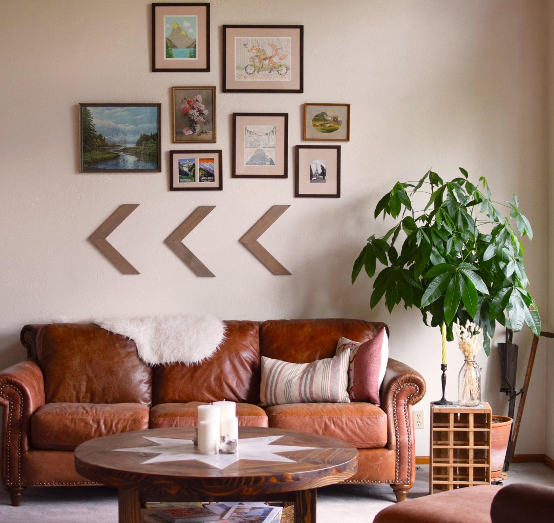 Set of three Wood Arrow Wall Art Chevron Home Decor wall
