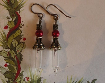 Miniature Christmas Earrings with Red Glass Pearls