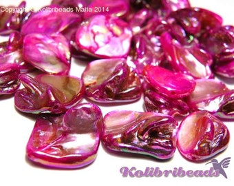 10x Mother of Pearl Nuggets 22 mm - Pink
