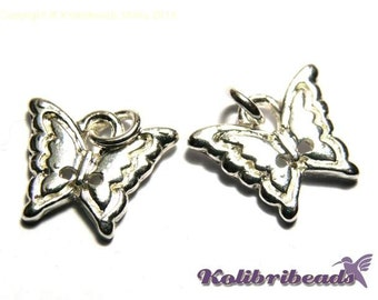4x Butterfly Charm 15 mm - Silver plated