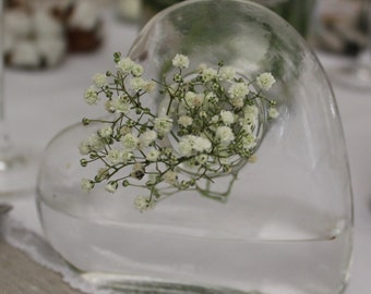 Wedding country or Bohemian glass heart vase