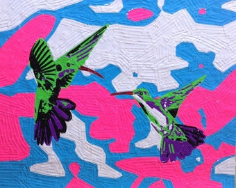 HUMMINGBIRD DANCE - Handcrafted Duct Tape Painting - Wall Art
