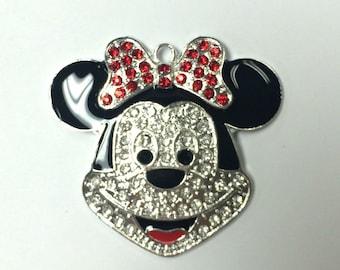 Minnie Mouse Face Rhinestone Pendant