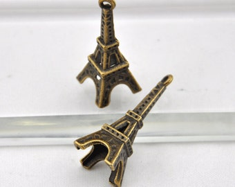 Eiffel Tower Charms -10pcs Antique Bronze Paris Eiffel Tower Charm Pendants -35*12mm --G0079