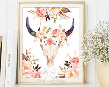 Aztec bull skull print Tribal Bull art print Skull print Teen Room Decor Skull printable art southwestern print INSTANT DOWNLOAD 150