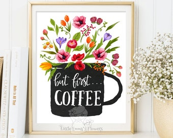 but first coffee print kitchen printable wall art decor poster kitchen decor calligraphy print digital quote wall art instant download 6-4