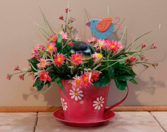 Pink Daisy Cup and Saucer with BlueBird  (Item 215)