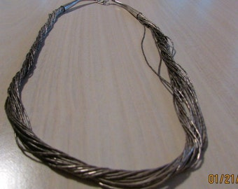 """20 Strand Sterling Liquid Silver Necklace 18"""" long"""