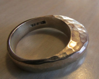 Sterling Silver Hammered Look Dome Ring Size 7 1/2
