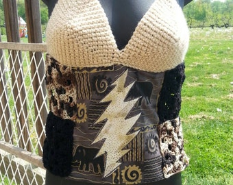 Patchwork and crochet grateful dead lightening bolt shirt (made to order)