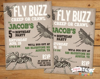 Insect Birthday Invitation / Insect Birthday Party / Boy Birthday Invitation / Bug Out Birthday Invitation / Distressed Design - PRINTABLE