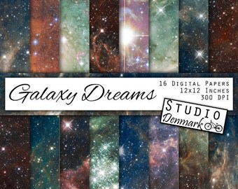 """Galaxy Digital Paper - """"Galaxy Dreams"""" - Night Sky Backgrounds - Stars and Galaxies / Milky Way / Nebulae - Instant Download"""