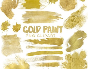 Gold Paint Elements Clipart - 18 Gold Brush Strokes / Splatters / Painted Gold Labels / Gold Watercolor -  Commercial Use Instant Download