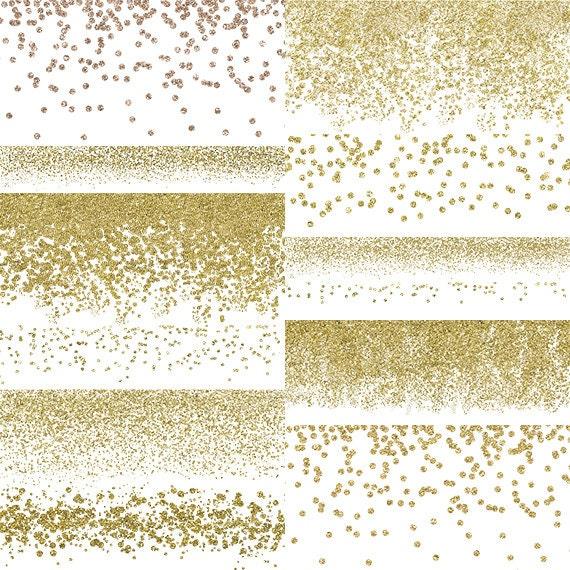 gold confetti borders glitter confetti clipart digital