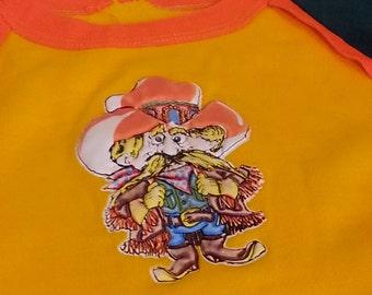 Vintage Old Man Poof Poofy Decal Top Cowboy 1980s Old School Throwback Florescent Orange