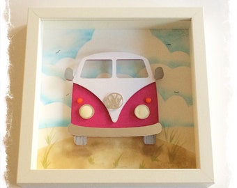 VW Camper Van in red / VW Bus Collage / 3D papercut Picture - Small Shadow box frame