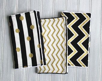 Burp Cloth Set- Gender Neutral Gold, Black and White Baby Burp Cloths - Set of 3 Minky Dot Burp Cloths - Gold and Black Chevron and Dots