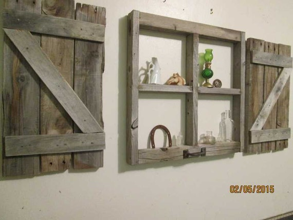 Rustic little window frame with shutters for Decorating with old windows and shutters