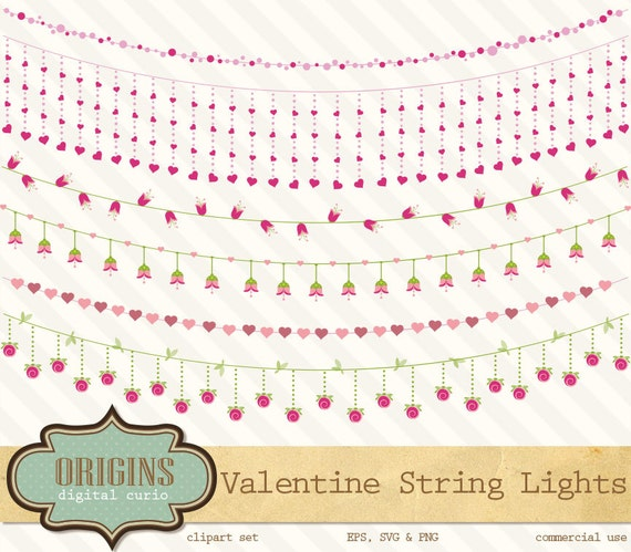 valentine string lights vector and png clipart pink flower string lights clip art garden lights pink rose eps and png download from originsdigitalcurio - Valentine String Lights