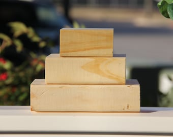 Unfinished Wooden Blocks Raw Wood Trio Block Stack Plain Bare Wood DIY Crafting Stacking Blocks Wooden Decor Solid Pine (Set of 3)