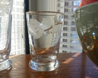 Vintage 1960's Set of Eight White Leaf And Vine, Gold Trimmed Glasses, 4 Drink and 4 Juice Glasses