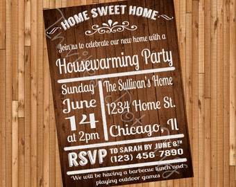 Wooden Background Printable Housewarming Party Invite