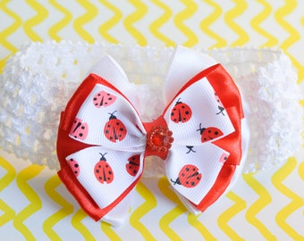 Wonderful White and Red Headband with Kanzashi Bow Flower with Ladybugs