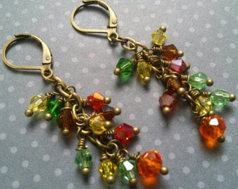 Autumn Earrings - Fall Leave's Inspired - Crystal cluster dangle earrings - Autumn jewelry - Thanksgiving earrings - Autumn bride