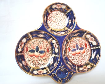 Blue Imari Divided Plate ,  Porcelain by Arthur Wood England