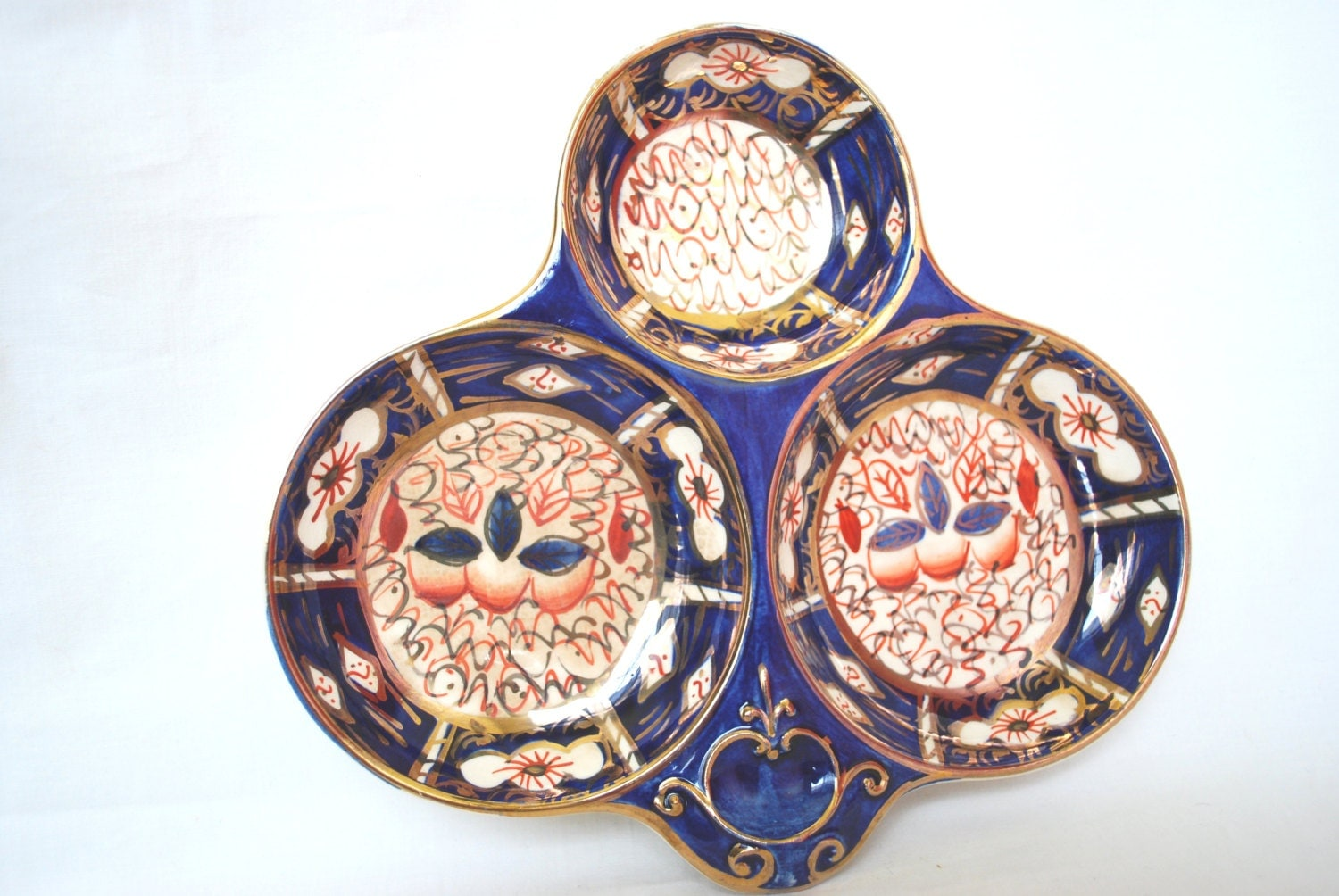 Imari Divided Plate Cobalt And Gold Porcelain By