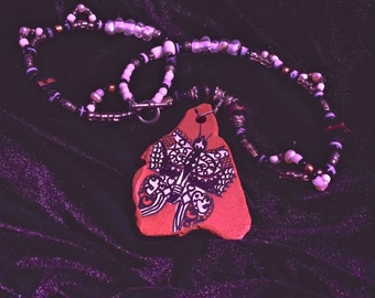 Zuni Butterfly hand painted pottery shard necklace