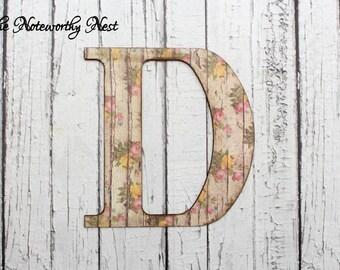 Letter D floral shabby letter // floral letter // distressed letter // shabby letter // Letter D // letter wall hanging