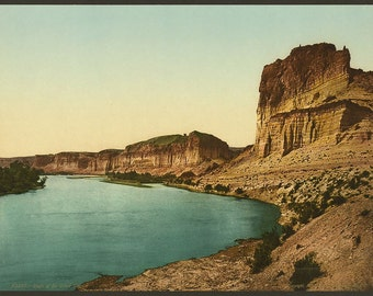 Bluffs of the Green River 1898. Vintage photo postcard reprint 8x10-up. Rock formations Rivers Utah Green River