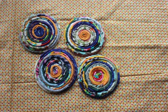 Items similar to Handmade Fabric Rope Coil Coasters ...