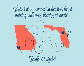 Sister Gift, Cousin Present, Special, Popular, State Love, Birthday Gift Ideas, Sorority Sister Quote, State Maps, Miss You, Far Away Gift