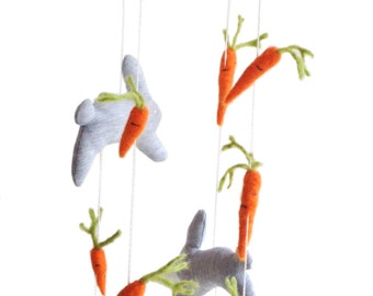 Bunnies and carrots mobile