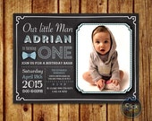 Boy First Birthday Invitation // Little Man Birthday Invitation // Blue Red Bowtie Chalkboard // Birthday Bash // Invitation with Photo